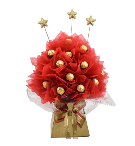 Red & Gold Ferrero Rocher Chocolate Bouquet - Medium - Sensual Baskets | Romance Baskets With Benefits