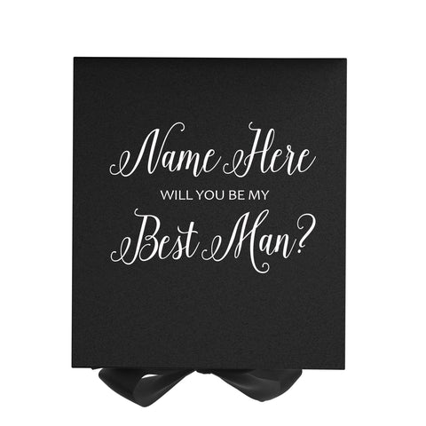 Personalized Will You Be My Best Man? Proposal Box Black w/ Bow - No Border-Sensual Baskets | Romance Baskets With Benefits