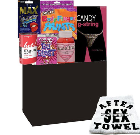 Oral Sensation Gift Basket W/ Candy G-String Small - Sensual Baskets | Romance Baskets With Benefits