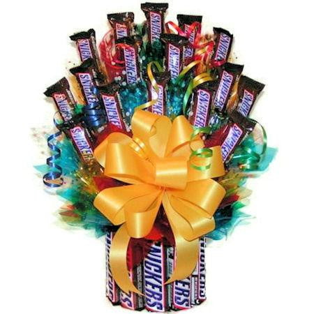 All Snickers Candy Bouquet-Large - Sensual Baskets | Romance Baskets With Benefits