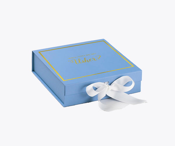 Will You Be My Usher? Proposal Box Light Blue - Gold Font w/ White Bow-Gift Box