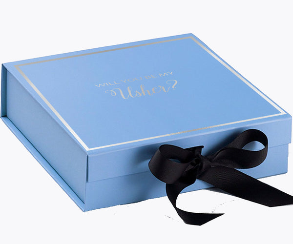 Will You Be My Usher? Proposal Box Light Blue - Silver Font w/ Black Bow-Gift Box