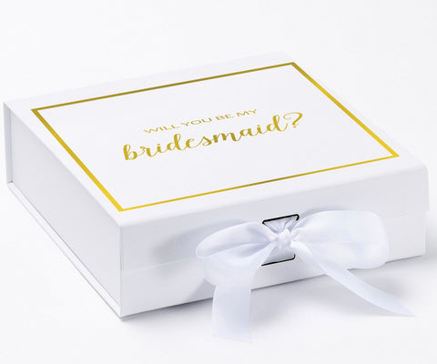 Will You Be My Bridesmaid? Proposal Box White - Gold Font w/ Bow-Gift Box
