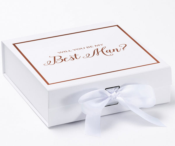 Will You Be My Best Man? Proposal Box White - Rose Gold Font w/ Bow-Gift Box