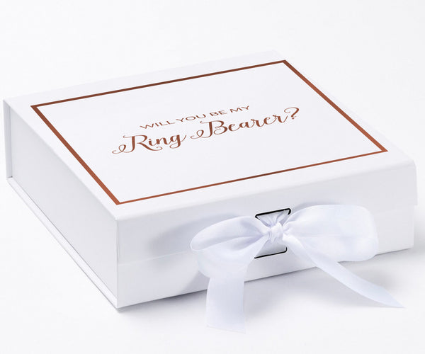 Will You Be My Ring Bearer? Proposal Box White - Rose Gold Font w/ Bow-Gift Box
