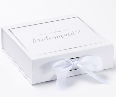Will You Be My Bridesmaid? Proposal Box White - Silver Font w/ Bow-Gift Box