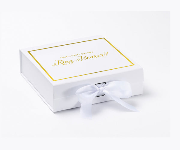 Will You Be My Ring Bearer? Proposal Box White - Gold Font w/ Bow-Gift Box