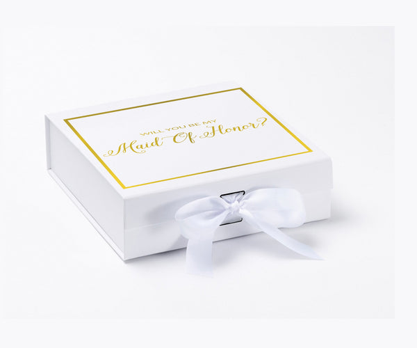 Will You Be My Maid Of Honor? Proposal Box White - Gold Font w/ Bow-Gift Box