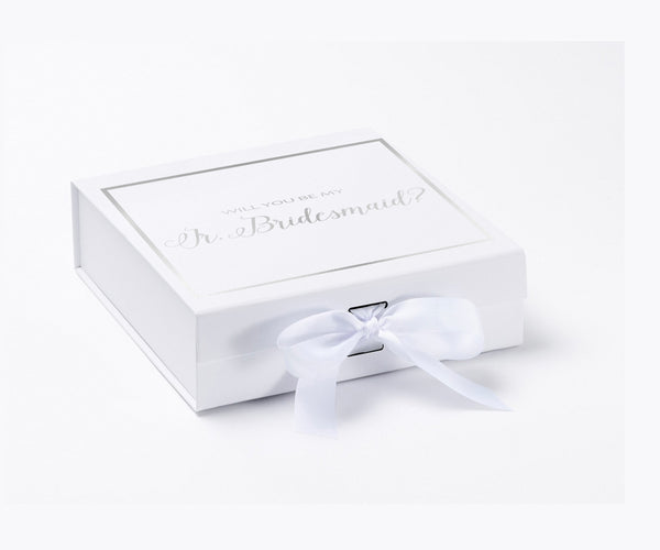 Will You Be My Jr. Bridesmaid? Proposal Box White - Silver Font w/ Bow-Gift Box