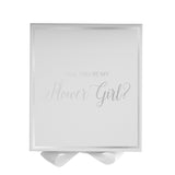 Will You Be My Flower Girl? Proposal Box White - Silver Font w/ Bow-Gift Box