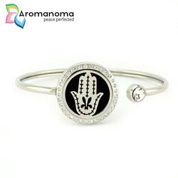 Hamsa Aromatherapy Bangle Bracelet with Crystals