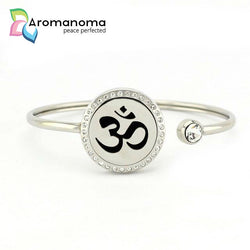 OHM Spiritual Symbol Aromatherapy Bangle Bracelet with Crystals