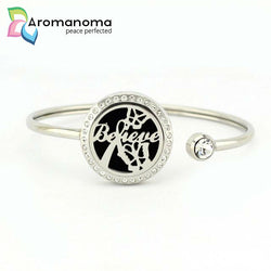 Believe Aromatherapy Bangle Bracelet with Crystals