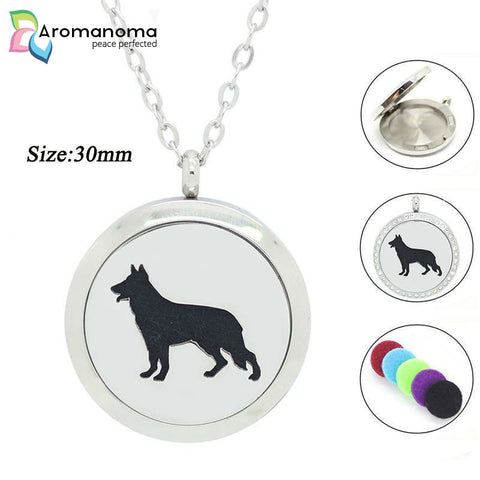 German Shepard Dog Aromatherapy Necklace