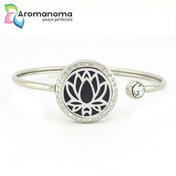Lotus Flower Aromatherapy Bangle Bracelet with Crystals