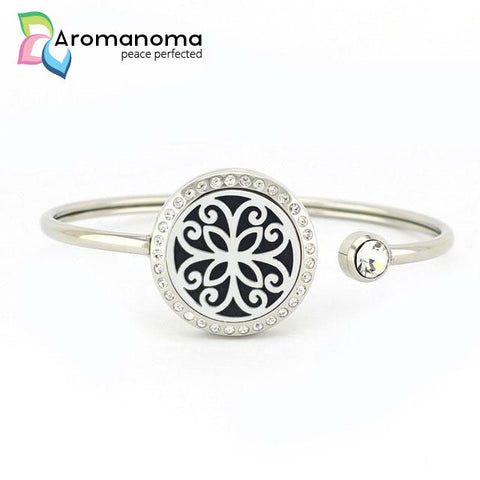 Flower Aromatherapy Bangle Bracelet with Crystals