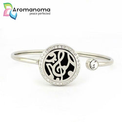 Music Note Aromatherapy Bangle Bracelet with Crystals