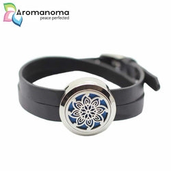 Mandala Star Flower 25mm Aromatherapy Leather Bracelet
