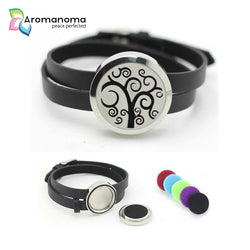 Spiral Tree Aromatherapy Leather Bracelet