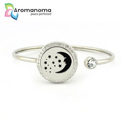 Moon & Stars Aromatherapy Bangle Bracelet with Crystals