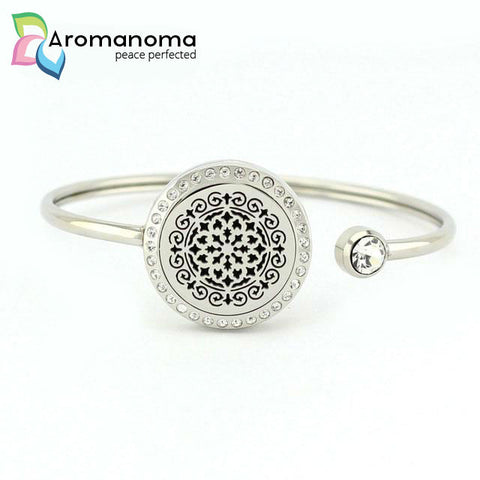 Moroccan Tile Aromatherapy Bangle Bracelet with Crystals