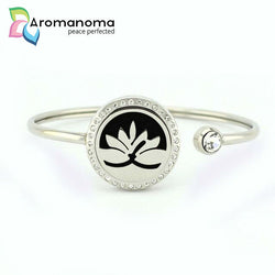 Lotus Aromatherapy Bangle Bracelet with Crystals