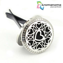 Hearts Mandala Aromatherapy Car Diffuser Locket with Crystals