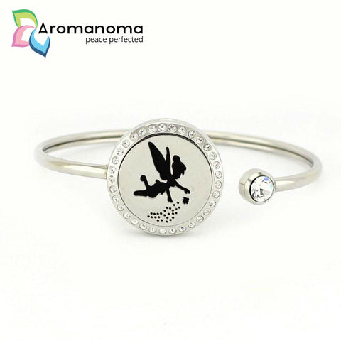 Fairy Aromatherapy Bangle Bracelet with Crystals