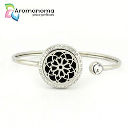 Daisy Mandala Aromatherapy Bangle Bracelet with Crystals