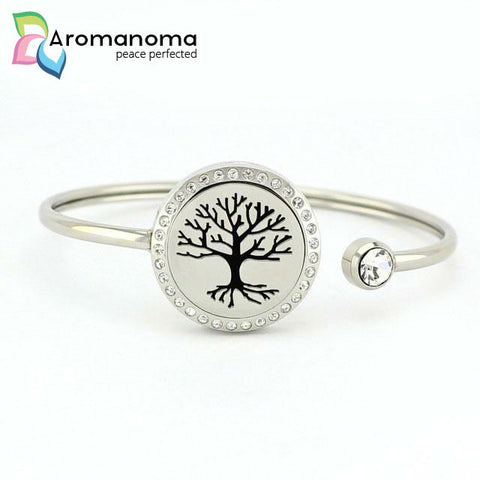 Branches & Roots Aromatherapy Bangle Bracelet with Crystals