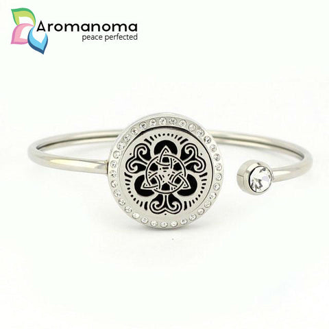 Celtic Trinity Cross Aromatherapy Bangle Bracelet with Crystals
