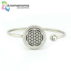 Flower of Life Aromatherapy Bangle Bracelet with Crystals