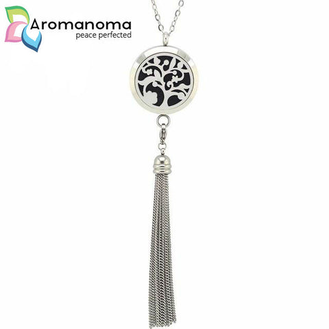 Flower Tree Aromatherapy Necklace with Tassel