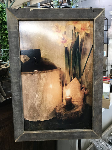 Candle Lit Wooden Frame
