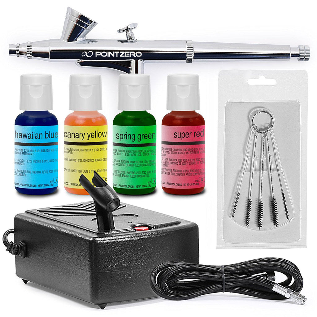 Cake Airbrush Decorating Kit - Airbrush, Compressor, and 4 Chefmaster Colors - mixwholesale.com