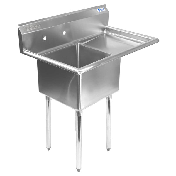 "Commercial Stainless Steel Kitchen Utility Sink with Drainboard - 39"" wide - mixwholesale.com"