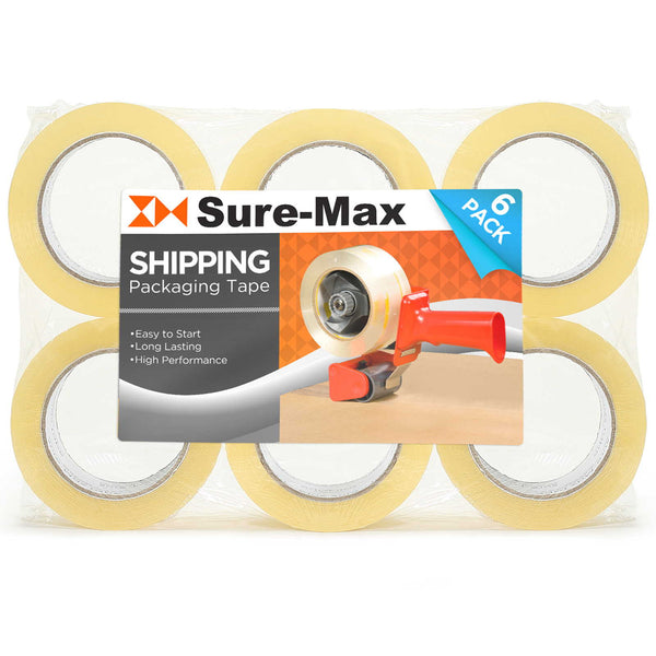 "6 Rolls 2"" Clear Shipping Packing Tape (110 yard/330' ea) Carton Sealing Moving - mixwholesale.com"