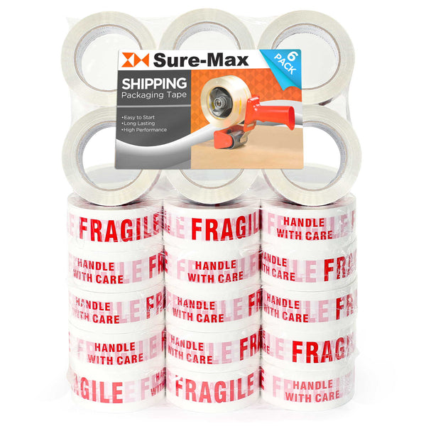 "36 Rolls ""Fragile - Handle w/ Care"" Printed Tape (2""x110 yard/330' ea) White/Red - mixwholesale.com"