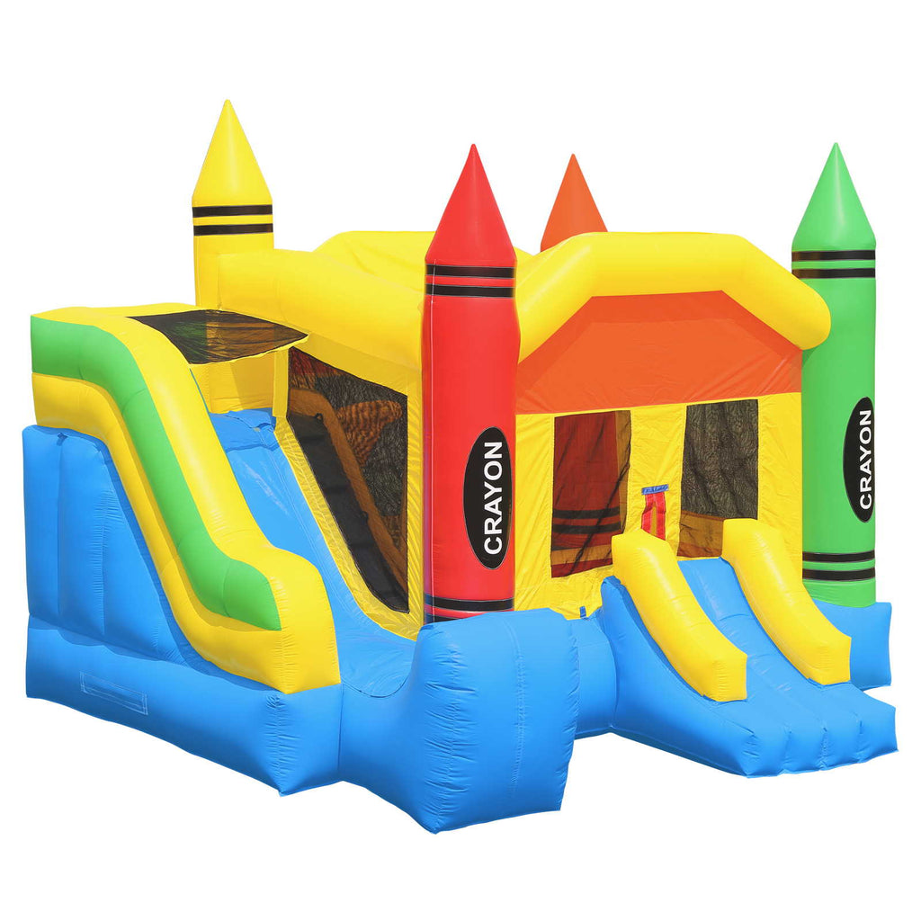 Commercial Grade Bounce House 100% PVC Inflatable Crayon Jump with Blower - mixwholesale.com