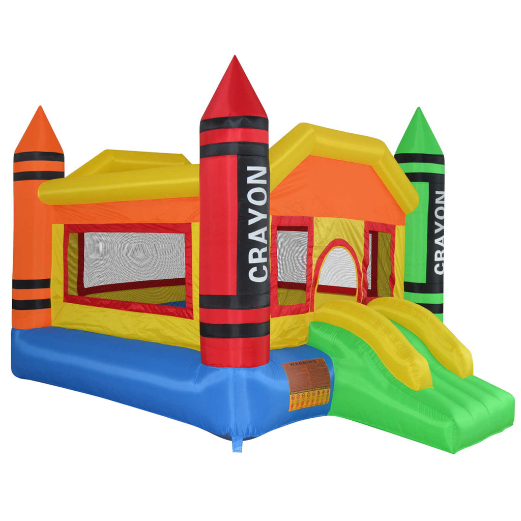 Mini Crayon Bounce House Slide Jump Bouncer Inflatable with Blower - mixwholesale.com