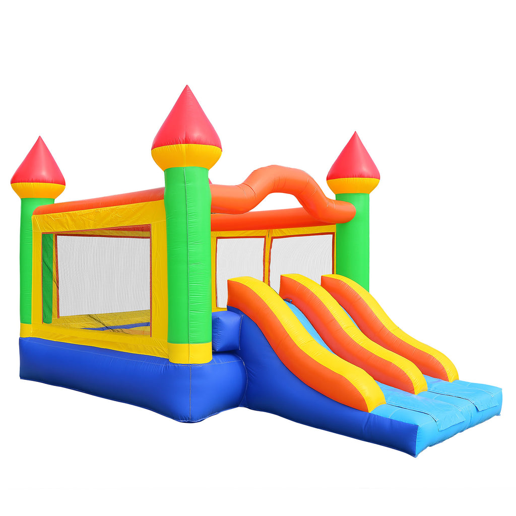 Commercial Bounce House 100% PVC Mega Double Slide Climbing Wall Inflatable Only - mixwholesale.com