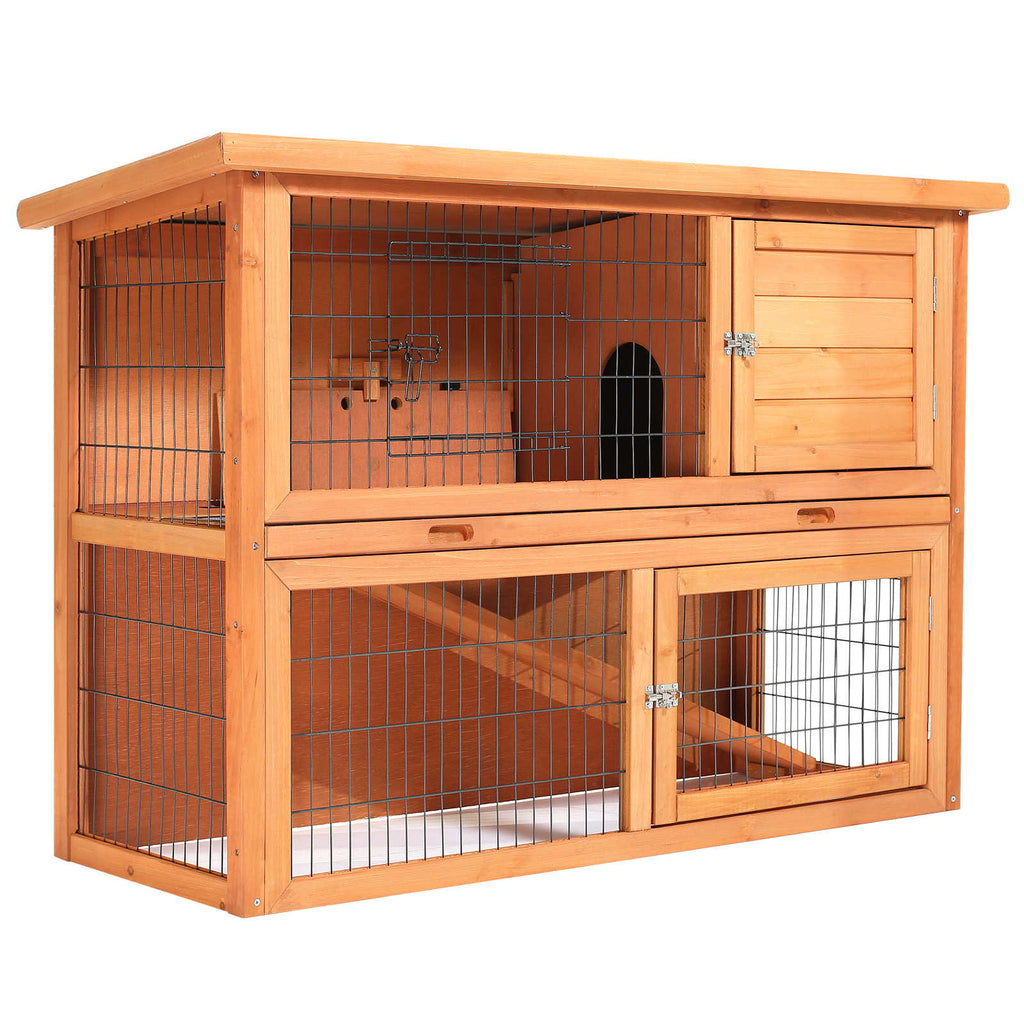 "48"" Rabbit Hutch - Two Story Wood Bunny Cage - mixwholesale.com"