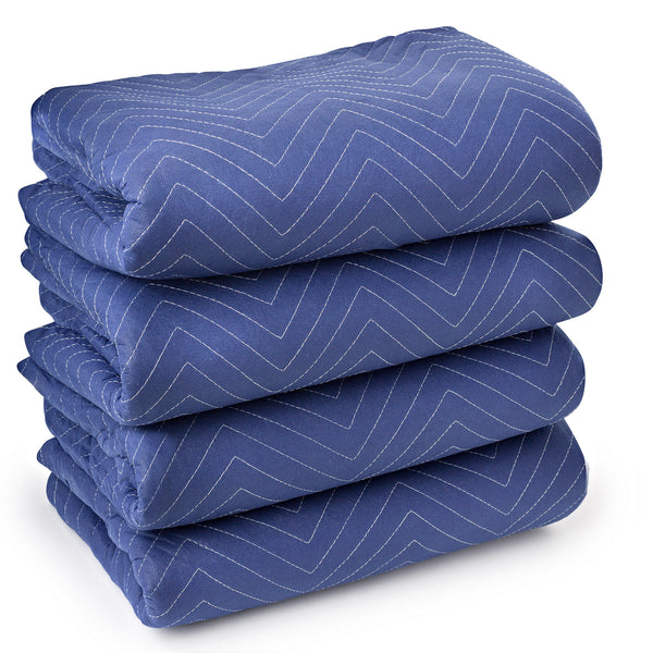 "4 Moving Blankets 80"" x 72"" (40 lb/dz) Pro Quilted Shipping Furniture Pads Blue - mixwholesale.com"