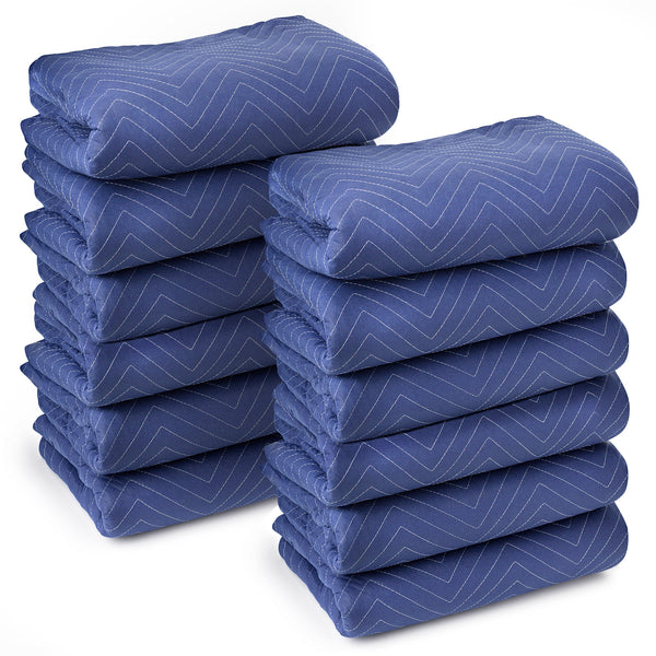 "12 Moving Blankets Furniture Pads - Deluxe Pro - 80"" x 72"" Royal Blue - mixwholesale.com"