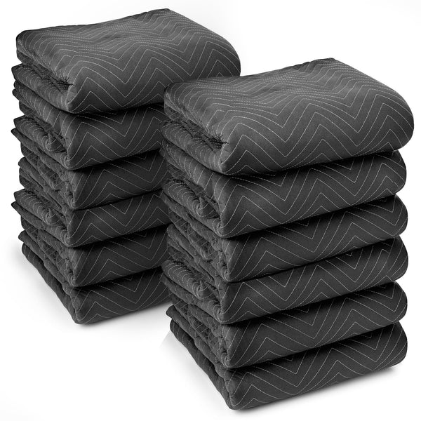 "12 Heavy-Duty 80"" x 72"" Moving Blankets 65 lb/dz Pro Packing Shipping Pads Black - mixwholesale.com"