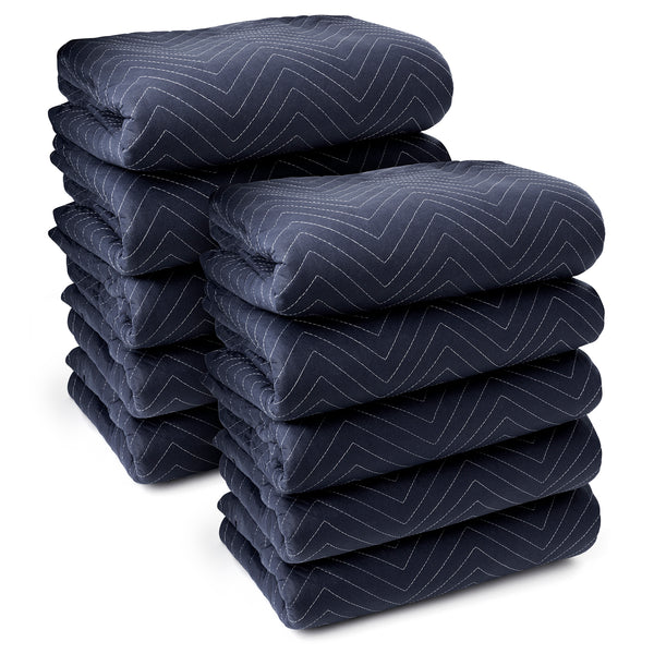 "10 Moving Blankets Furniture Pads - Pro Economy - 80"" x 72"" Navy Blue and Black - mixwholesale.com"