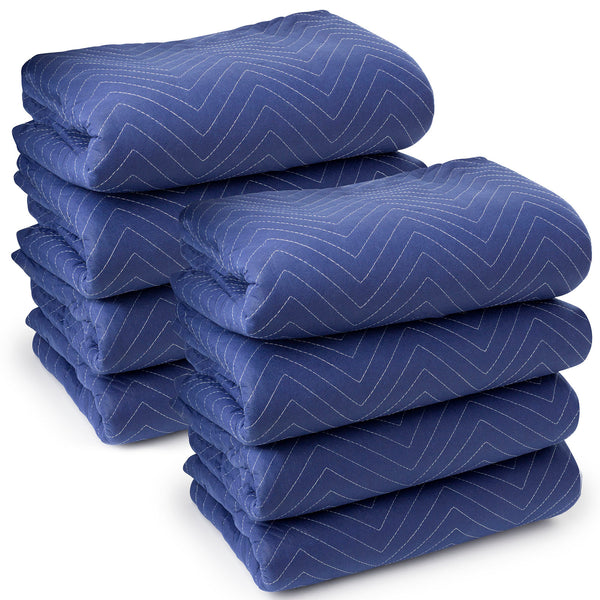 "8 Moving Blankets Furniture Pads - Deluxe Pro - 80"" x 72"" Royal Blue - mixwholesale.com"