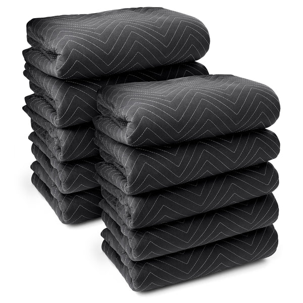 "10 Moving Blankets Furniture Pads - Ultra Thick Pro - 80"" x 72"" Black - mixwholesale.com"