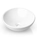 Modern Ceramic Vessel Sink - Bathroom Vanity Bowl - Large Round White - mixwholesale.com