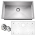 MODERN STYLING - Combining the best in function and design, this finely crafted single bowl sink features a gorgeous & durable satin-finish and precision-engineered, zero radius corners for a modern look as well as maximizing the sink work area.